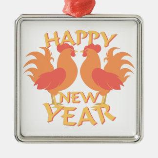 Happy New Year Silver-Colored Square Decoration