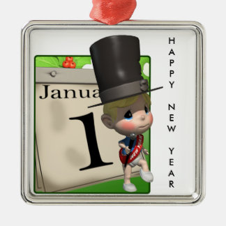 Happy New Year! Silver-Colored Square Decoration