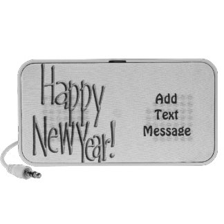 Happy New Year - Silver Text (Add Your Colors) Mp3 Speaker
