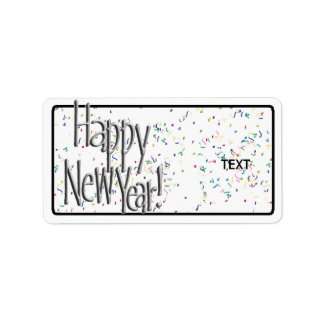Happy New Year Silver Text Address Label