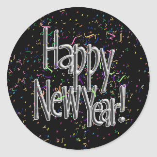 Happy New Year - Silver Text w/Black Confetti Classic Round Sticker
