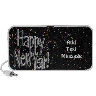 Happy New Year - Silver Text w/Black Confetti Mp3 Speakers