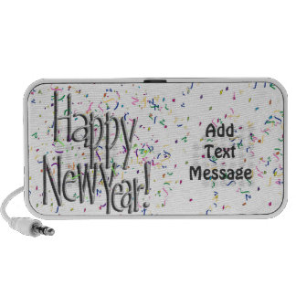 Happy New Year - Silver Text With Confetti iPhone Speaker