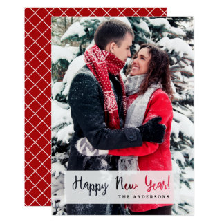 Happy New Year Simple Cut Out Script Text Photo 13 Cm X 18 Cm Invitation Card
