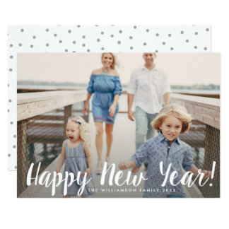 Happy New Year Simple Modern Custom Family Photo Card