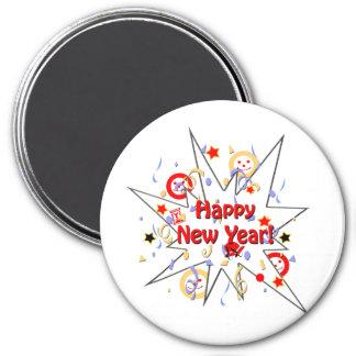 Happy New Year Smiley Splash 7.5 Cm Round Magnet