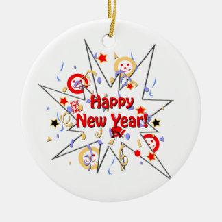 Happy New Year Smiley Splash Ornaments