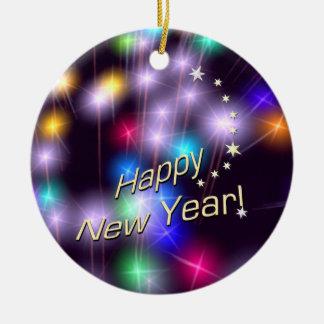 Happy New Year Star Lights Round Ceramic Decoration