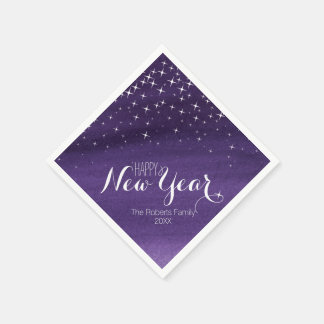 Happy New year starry night purple custom napkins Disposable Napkins