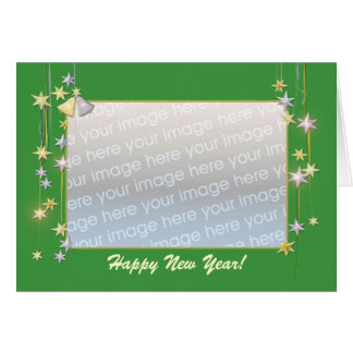 Happy New Year Stars Green (photo frame) Card