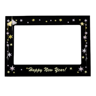 Happy New Year Stars on Black Magnetic Frame