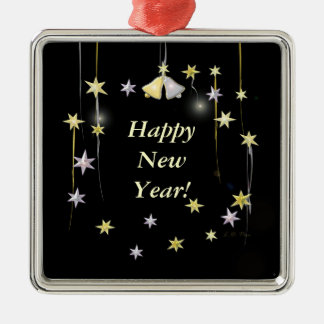Happy New Year Stars on Black Silver-Colored Square Decoration
