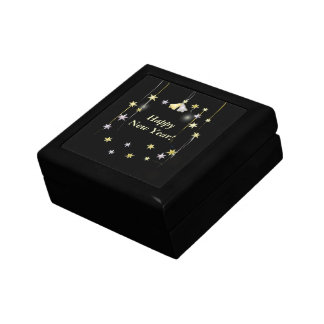 Happy New Year Stars on Black Small Square Gift Box