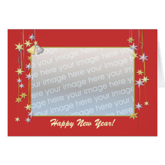 Happy New Year Stars Red (photo frame) Card