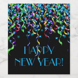 Happy New Year! Stars, Ribbon Streamers Wine Label