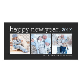 Happy New Year Three Photo Classic Black Photocard Customised Photo Card