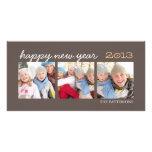 Happy New Year Three Photo Mocha Photocard Personalized Photo Card
