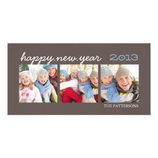 Happy New Year Three Photo Mocha Photocard Custom Photo Card