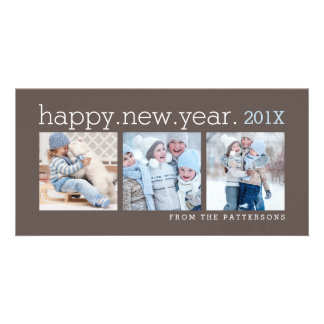 Happy New Year Three Photo Mocha Photocard Photo Card Template