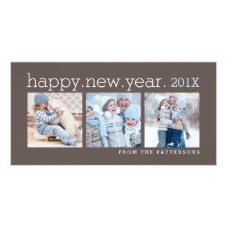 Happy New Year Three Photo Mocha Photocard Photo Greeting Card