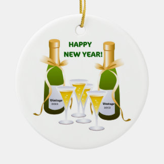 HAPPY NEW YEAR VINTAGE CHAMPAGNE PRINT ORNAMENT