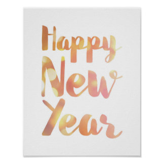 Happy New Year - Watercolor - White Poster