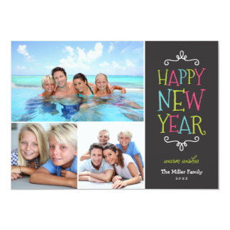 Happy New Year Whimsical Holiday Photo Card 13 Cm X 18 Cm Invitation Card