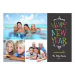 Happy New Year Whimsical Holiday Photo Card Personalized Invitations