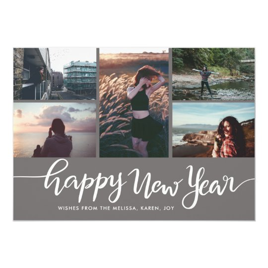 Happy New Year White Script Five Photo Card