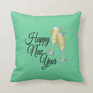 Happy New Year with Champagne & Confetti Cushion