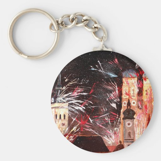 Happy New Year - with Fireworks in Munich Key Chain
