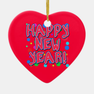 Happy New Year with Fun Dots Ceramic Heart Decoration