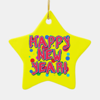 Happy New Year with Fun Dots Christmas Ornament