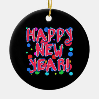 Happy New Year with Fun Dots Round Ceramic Decoration