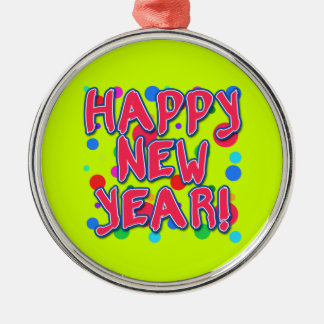 Happy New Year with Fun Dots Silver-Colored Round Decoration