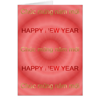 HAPPY NEW YEAR WRITTEN IN ENGLISH & VIETNAMESE GREETING CARD