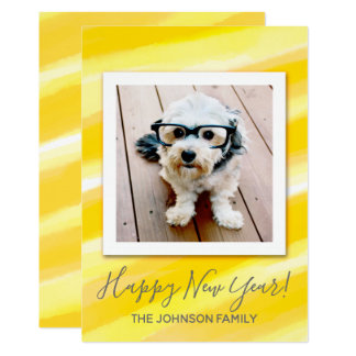 Happy New Year Yellow Modern Watercolor Photo Card