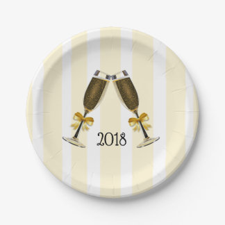 Happy New Years Champagne Toast Glasses Plate