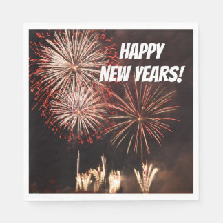 Happy New Years Fireworks Disposable Serviette