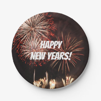 Happy New Years Fireworks Paper Plate