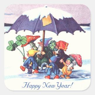 Happy New Year's Gnomes Square Sticker