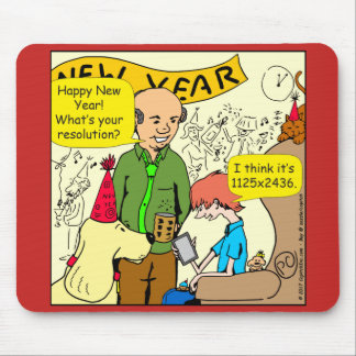 Happy New Years Resolution Cartoon Mouse Pad