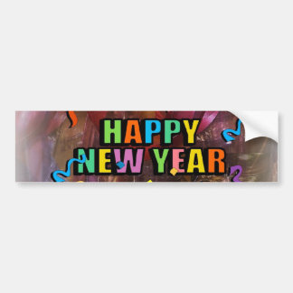 Happy New Years Steamers And Bell Decorations Bump Bumper Sticker