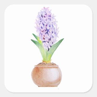Happy Norooz Hyacinth Square Sticker