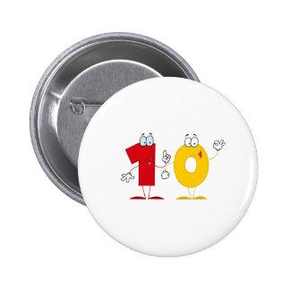Happy Number 10 6 Cm Round Badge