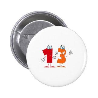 Happy Number 13 6 Cm Round Badge