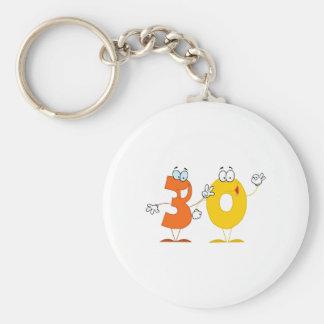 Happy Number 30 Basic Round Button Key Ring