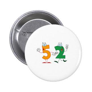 Happy Number 52 6 Cm Round Badge