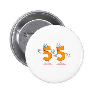 Happy Number 55 6 Cm Round Badge