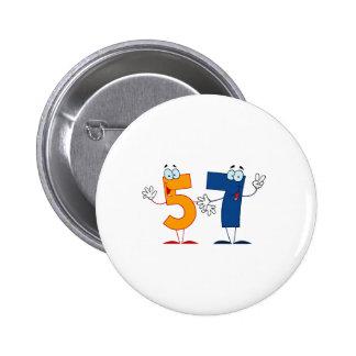 Happy Number 57 6 Cm Round Badge